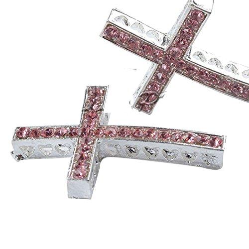 RUBYCA 20pcs Cross Sideway Metal Connector Bead DIY Shamballa Bracelet White Silver Color Light Rose Pink Crystal - Cross Sparkle Beads