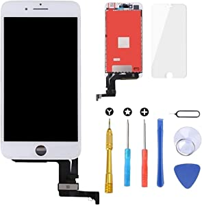 Brinonac Screen Replacement for iPhone 8 Plus 5.5 inch LCD Digitizer Touch Screen LCD Replacement Screen Frame Assembly Full Set with Tools and Screen Protector (White)