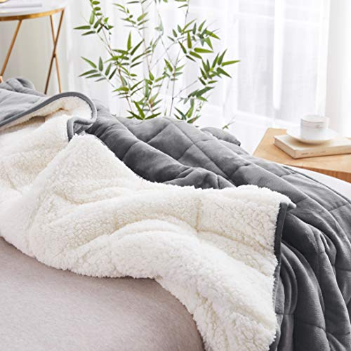 Sherpa-Weighted-Throw-Blanket-for-Adults-Kids-Light-GreyWhite-7lbs-48x60-Duel-Sided-Super-Soft-Fleece-Cozy-Plush-Sherpa-Fabric-on-Opposite-Side-Perfect-for-Couch-Bed-Chair-Camping