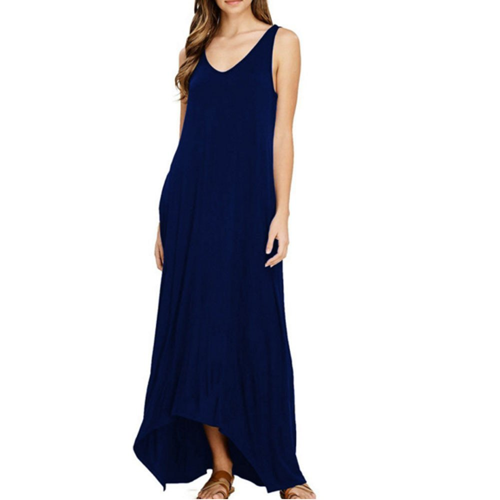 Beach Long Dresses Plus Size, Womens Off Shoulder Cocktail Party Beach Pure Color Pocket Vest Long Maxi Dress, Blue, M