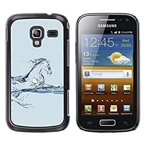 LECELL--Funda protectora / Cubierta / Piel For Samsung Galaxy Ace 2 I8160 Ace II X S7560M -- Horse Steed Mustang Water Blue Glass --