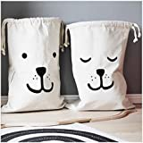 Mikayoo Canvas Laundry Bags Household Drawstring Organizers Storage Sorting Bags(set of 2)