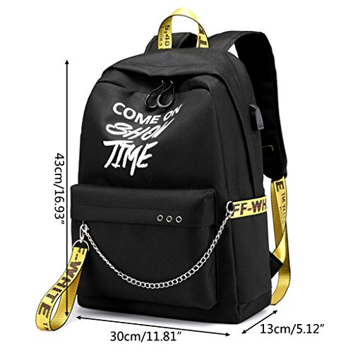 Rucksack Luminous Satchel Laptop Bag Gubenm Travel Outdoor Charger Waterproof Shoulder Green Letters Teens Bags School Shopping Usb Polyester For Women Backpack ZqIwq4a