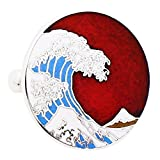 Hokusai Wave Cufflinks - Red