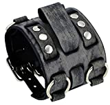 Nemesis #WB-KV Wide Tarnished Black Leather Tri Clasp Cuff Wrist Watch Band