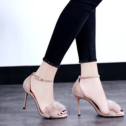 GAOLIM Bien, Con Tacón Alto Sandalias Zapatos De Tacón Femenino Verano Correa Ranurada Rocío De Terciopelo-Toe Zapatos De Mujer Beige
