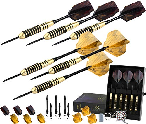 CC-Exquisite Professional Darts Set - Customizable Configuration 6 Steel Tip Darts | 12 Aluminum Shafts 35/48mm | 12 Flights Standard/Slim | Darts Tool | Darts Sharpener + Case (Cosmic Rays 20g/24g) ()