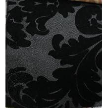 "LA Linen™ FLOCKED DAMASK TAFFETA FABRIC BY THE YARD 58"""" WIDE BLACK/BLACK"