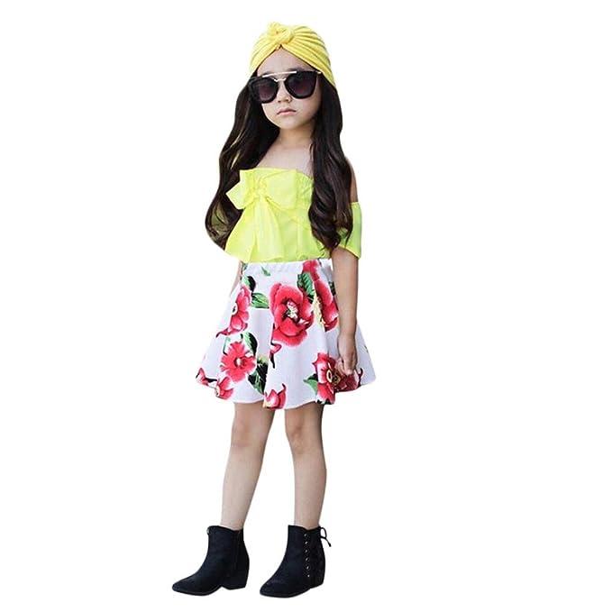K-youth Conjunto de Ropa para Niñas Bebés Niñas Chicas Camiseta con Tirantes + Vestido