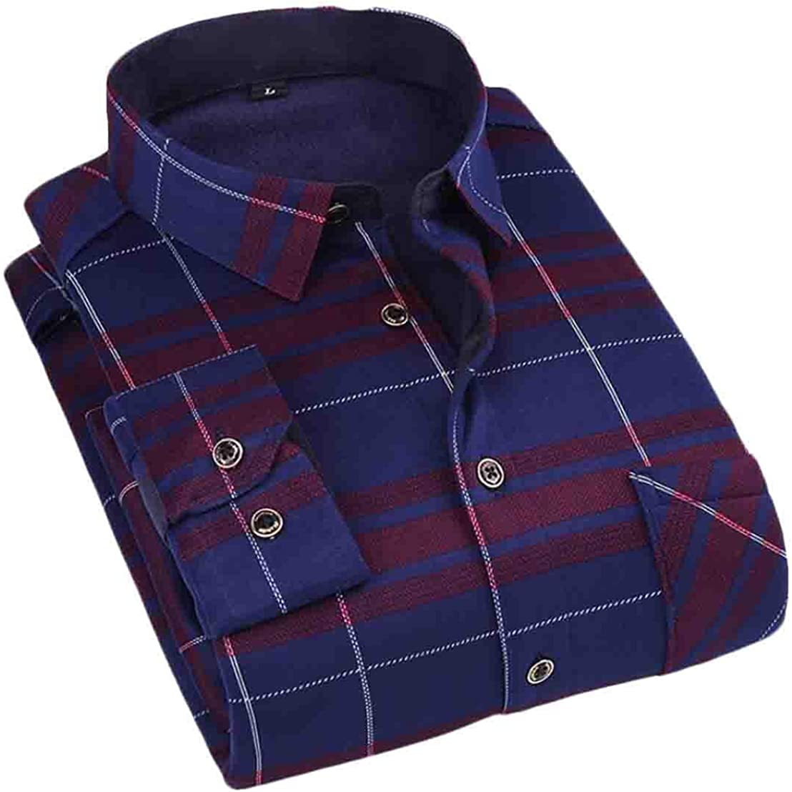 Hmarkt Mens Long Sleeve Warm Buttons Print Fleece Linen Shirts