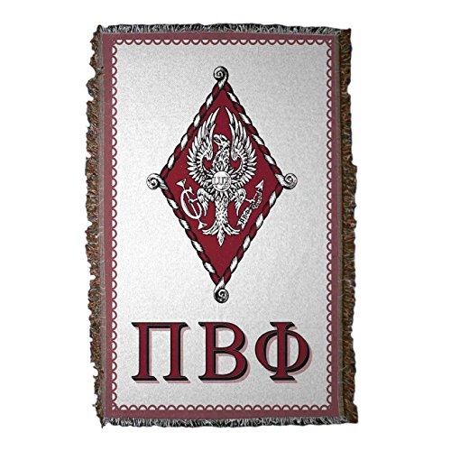 Greek Afghan Throw Blanket - VictoryStore Blanket - Pi Beta Phi Woven Blanket, Crest and Letters Design