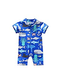 HAPPYMA Infant Toddler Baby Boys Swimsuit One-Piece Zipper Cartoon Fish Print Bodysuit Sunsuit Swimwear Summer Clothes