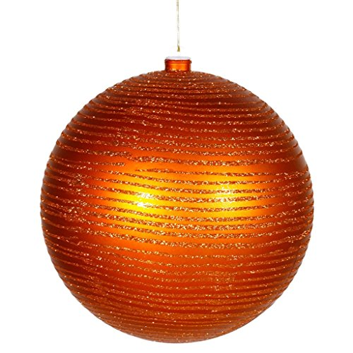 Vickerman Burnt Orange Glitter Striped Shatterproof Christmas Ball Ornament 8'' (200mm) by Vickerman