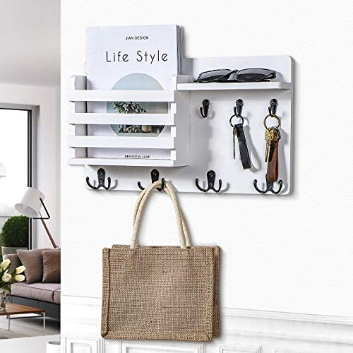 """Mail Holder for Wall – Rustic Mail Organizer with Key Hooks for Hallway Kitchen Farmhouse Decor – Letter Sorter Made of Natural Pine with Floating Shelf and Flush Mount Hardware (16.8"""" x 10"""" x 3.2"""")"""
