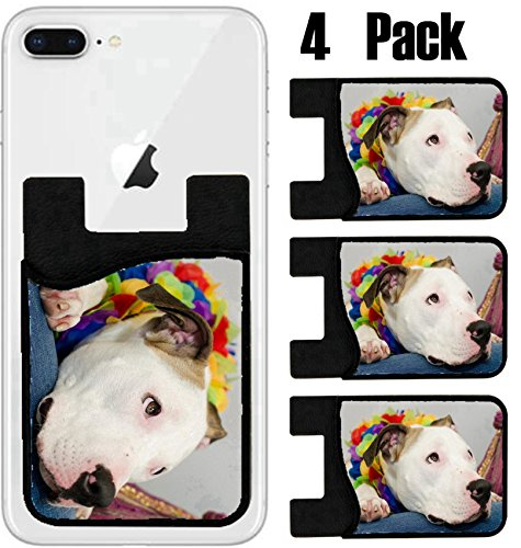 MSD Phone Card holder, sleeve/wallet for iPhone Samsung Android and all smartphones with removable microfiber screen cleaner Silicone card Caddy(4 Pack) IMAGE ID 37042100 Pitbull head on lap looking a