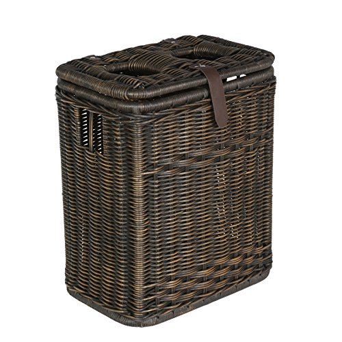 The Basket Lady Wicker Drop-in Divided Recycling Basket, Antique Walnut Brown