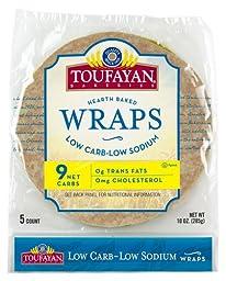 Toufayan Bakeries Low Carb/Low Sodium Wrap, Large 9-inch Burrito Size, 5 wraps