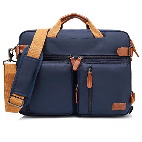 CoolBELL Convertible Backpack Messenger Bag Shoulder Bag Laptop Case Handbag Business Briefcase Multi-Functional Travel Rucksack Fits 15.6 Inch Laptop for Men/Women (Blue)