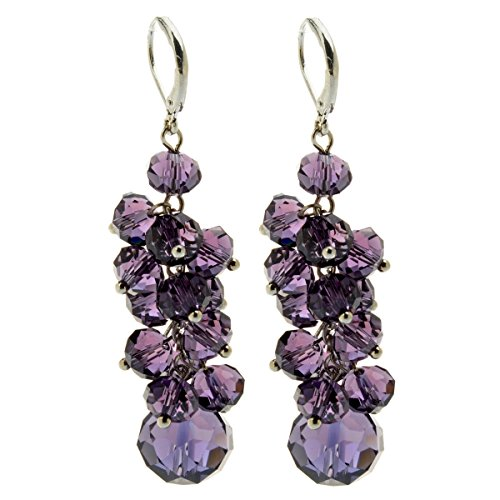 [TS Women`s Fashion Spring Colorful Cluster Crystal Beads Dangle Earrings Beaded Linear Drop Earrings (Purple)] (Purple Bead Earrings)