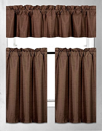- Elegant Home Collection 3 Piece Solid Color Faux Silk Blackout Kitchen Window Curtain Set with Tiers & Valance Solid Color Lined Thermal Blackout Drape Window Treatment #K3 Coffee / Brown / Chocolate)