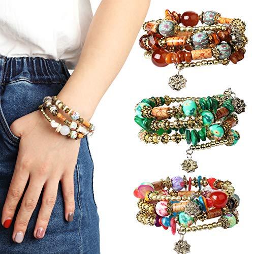 Besteel 3 Sets of Bohemian Beaded Bracelets for Women Girls Multilayer Stretch Bracelet