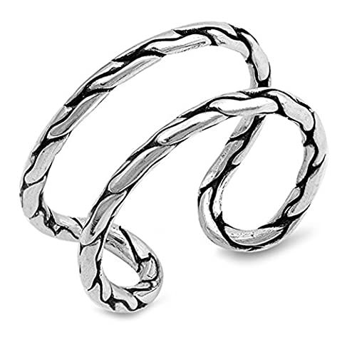 Open Abstract Cracked Pebble Loop Ring New .925 Sterling Silver Band Size 10 (RNG17301-10) (Pebble Band Ring)