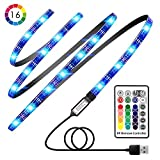 TV LED Strip Lights, Avanz TV Backlight for 32-60in TV, Upgraded TV Bias Lighting with 16 Changing Colors & RF Wireless Remove, Waterproof LED Light Strip USB Powered for TV Desktop PC