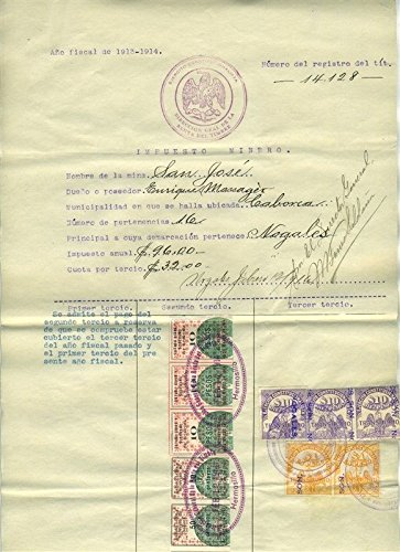 Mexico Mining Document San Jose Gold Mine 1913-1914 Revenue Stamps & 1899 Map ()