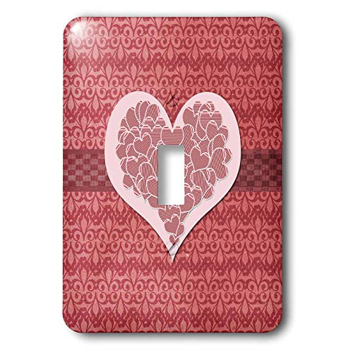 3dRose Beverly Turner Heart Design - Image of Striped Hearts within a Big Heart on Fleur de Lis Design - Light Switch Covers - single toggle switch (lsp_306379_1)