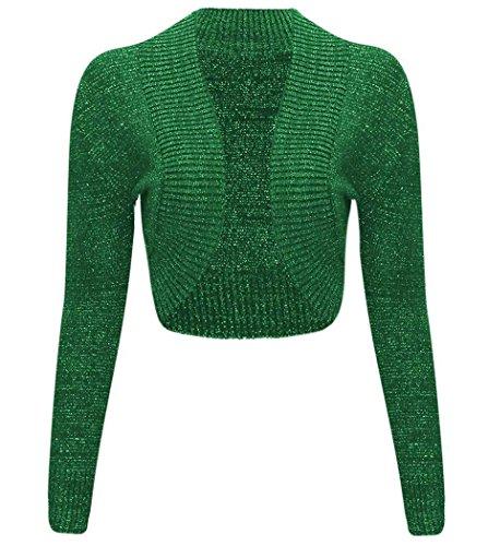 Boléro en Lurex métallique à longues manches pour femmes -  Vert - Medium
