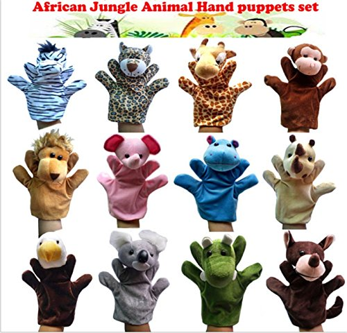 Lion Soft Doll - JZH Pack of 12 Different Cartoon Animal Soft Plush Hand Puppets Finger Puppets Soft Plus, Baby Soft Velvet Dolls Props Toys Storytelling Toys. (Forest Animals Hand Puppet)