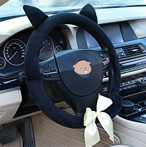 BXT Car Leopard Soft Plush Steering Wheel Cover Car Decoration Nonslip Guard Case Winter Warm Universal Covers