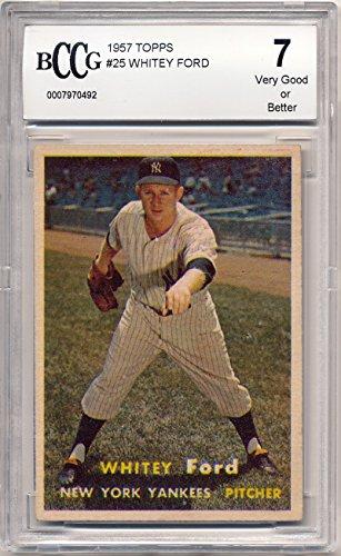 1957 Topps Whitey Ford Baseball Card Graded BCCG 7 (Whitey Baseball Ford)