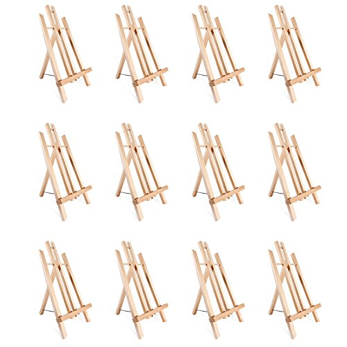 """Tabletop Art Easel Set, Ohuhu 14"""" Tall Display Stand A-Frame Mini Wood Painting Easels for Kids Artist Adults Students Classroom Table top Display (12-Pack) from Ohuhu"""