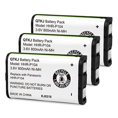 QTKJ HHR-P104 HHR-P104A Battery Compatible Panasonic KX-FG6550 KX-FPG391 KX-TG2388B KX-TG2396 KX-TG2346 KX-TG2314 KX-TG2388B KX-TGA233 KX-TGA500 Cordless Phone Headsets (3-Pack)
