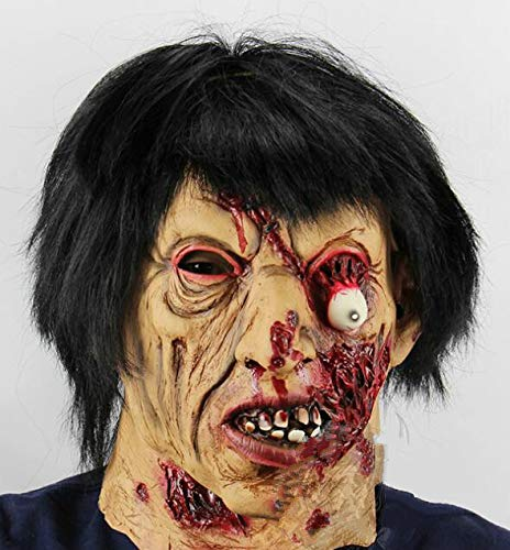Huasen Masquerade Horror Black Hair Zombie Mask Scary Halloween Skull Mask-Skin Color]()