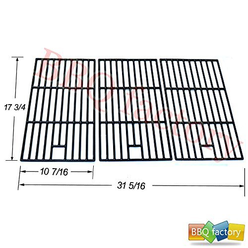 bbq factory Replacement Porcelain coated Cast Iron Cooking Grid Grate JGX273 for Select Master Forge and Perfect Flame Gas Grill Models, Set of 3 by bbq factory