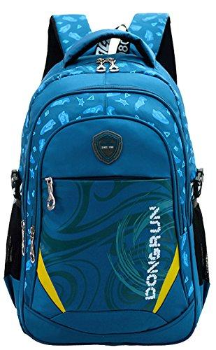 Kinder Junge und Mädchen Schulrucksack Schultasche Nylon Schulranzen Sportrucksack Backpack (Marineblau)