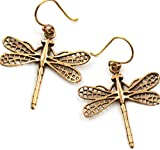 Bronze Filigree Dragonfly Earrings Drop Dangle Fish Hook Thailand Made Jewelry