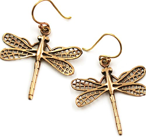 LynnAround Bronze Filigree Dragonfly Earrings Drop Dangle Fish Hook Thailand Made Jewelry ()