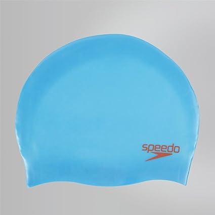 4af4d81719f Amazon.com : Speedo-Swim hats-Plain Moulded Silicone Junior Cap-Blue ...