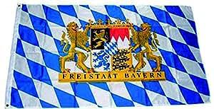 freitaat Bayern Bandera/bandera con León Escudo; 60x 90cm con pequeño falsas Impresión–B-Ware