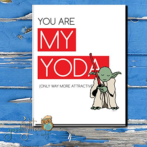 Star wars greeting card with Yoda you are my yoda valentine