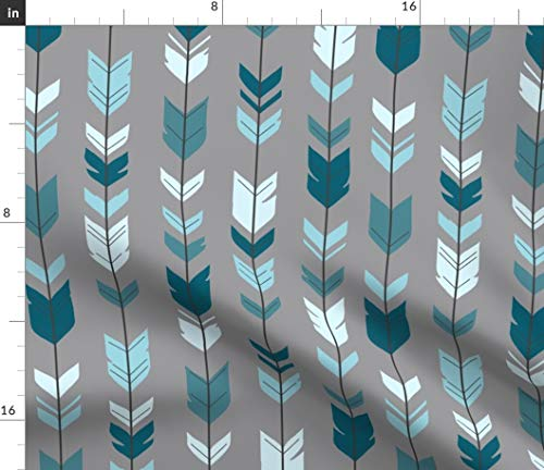 (Spoonflower Arrows + Feathers Fabric - Arrow Feather Teal Baby Boy Woodland Rustic Grey by Sugarpinedesign Printed on Petal Signature Cotton Fabric by The Yard )