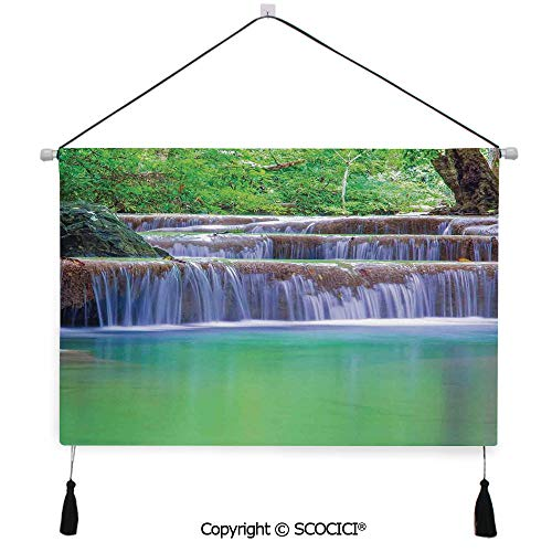 - SCOCICI Durable Material Multipurpose W24xL17inch Wall Hanging Tapestry Fairy Step Cascade Waterfalls Pours Into Crystal Clear Lake Exotic Tropical Decorative Painting Living Room Painting Fabric Bac