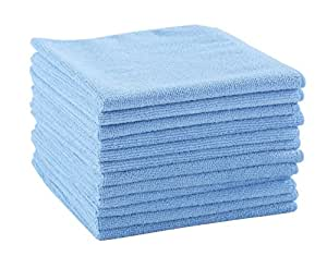 Dri Professional Extra-Thick Microfiber Cleaning Cloth - 16 in x 16 in - 12 Pack (Blue) - Ultra-absorbent, quick drying, chemical-free cleaning