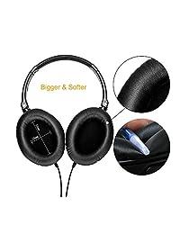 Active Auriculares con micrófono, cancelación de ruido, monodeal Overhead fuerte y Bass auriculares, plegable y ligero Auriculares de viaje con funda de transporte, color negro
