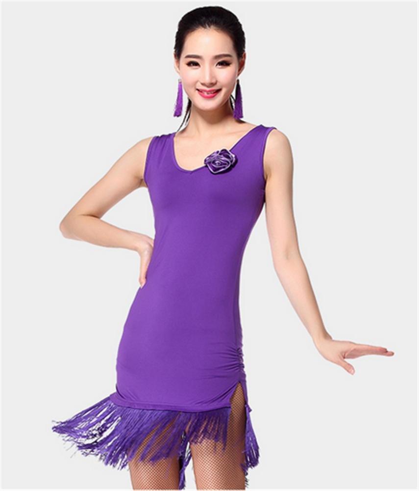 violet L peiwen Femme Costume Pratique de la Danse Latine Spectacles de Danse Robe frangée