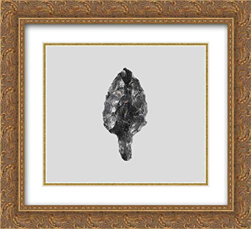 (Cycladic Culture - 22x20 Gold Ornate Frame and Double Matted Museum Art Print - Obsidian Leaf-Shaped and tanged Point)