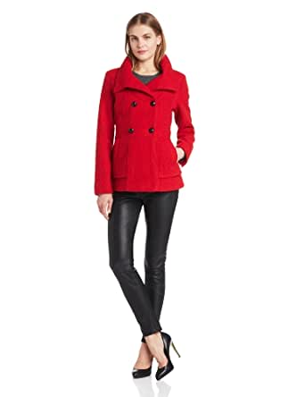 Jessica Simpson Women's Short Double Breasted Coat, Red, X-Small